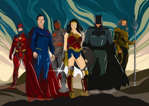 JUSTICE LEAGUE AMERICA - PAINT ART LANDSCAPE canvas print - self adhesive poster - photo print